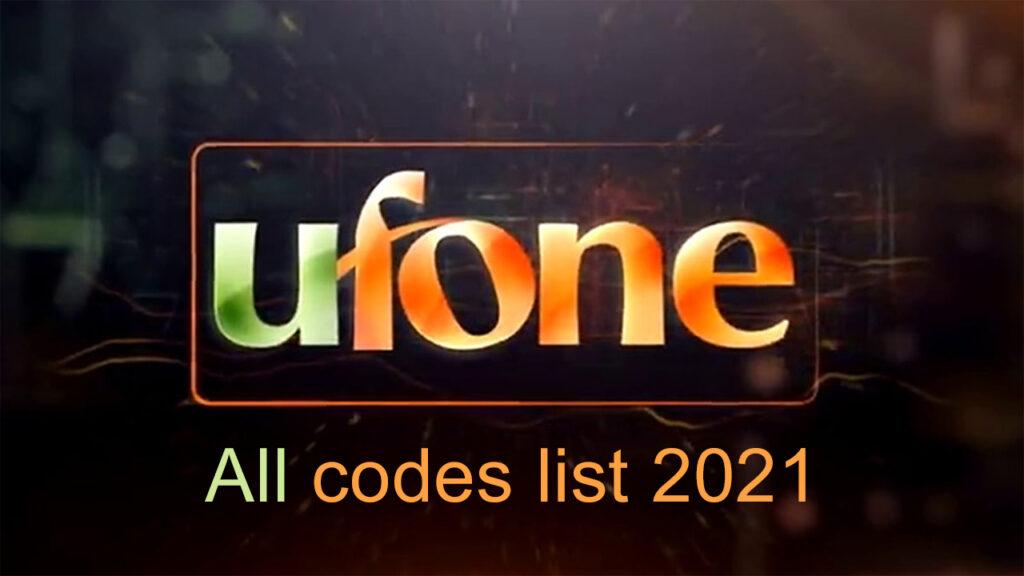 Ufone all code list 2021